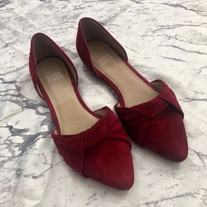 🆕 Eileen Fisher Red Leather Knotted d'Orsay Flat